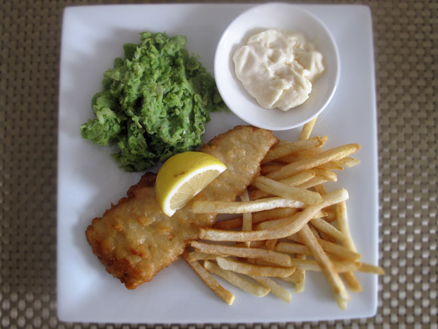 British-style fish and chips with mushy peas (4 ingredients, 30 minutes)