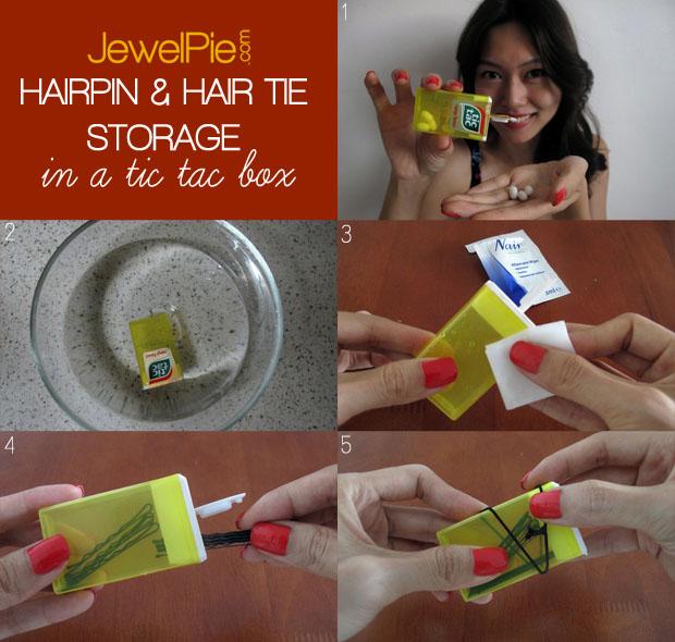 DIY hairpin storage in a Tic Tac box