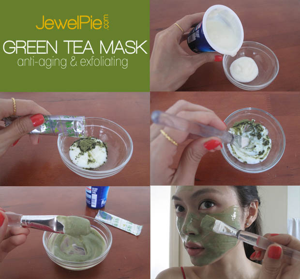homemade green tea mask- exfoliating and antiaging