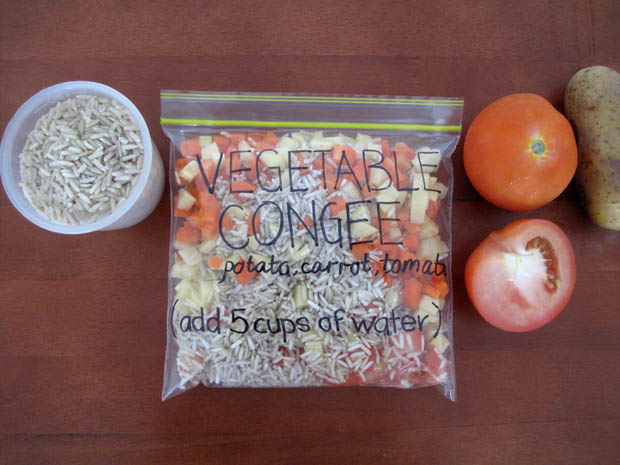 congee in ziplock bag